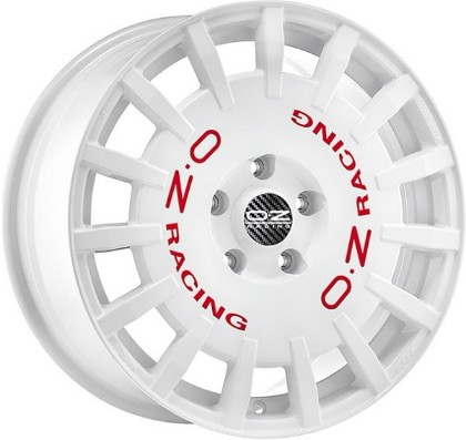 jante OZRALLY RACING WHITE RED LETTERING